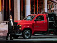 Ed Peper, vice president of GM Fleet, spoke to attendees and showed the new Chevrolet Silverado...