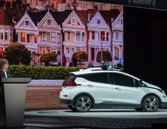 Mary Barra, chairman and CEO, spoke and showed the Cruise AV, which GM is developing for a...