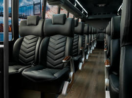 As this configuration shows, 36 employees or customers can be transported in comfort aboard the GM36. Among the standard passenger-centric features are a DVD player, premium rear audio, roof-mounted HVAC, Altro wood-look flooring, LED interior/exterior lighting, and passenger retractable seat belts.