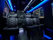 The Grech Motors Sprinter shuttle has a 13-passenger capacity. Fitments include wooden floors...