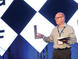 Moderating the panel discussion on the use of technology by global fleets was Michael Pohl,...