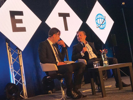 Konstantin Sixt (R), board member of sales for Sixt SE discussed the future of mobility as a...