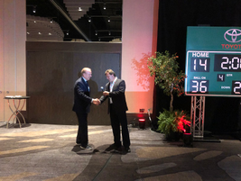 The speaker at the opening night reception was Roger Staubach (left), retired quarterback for...