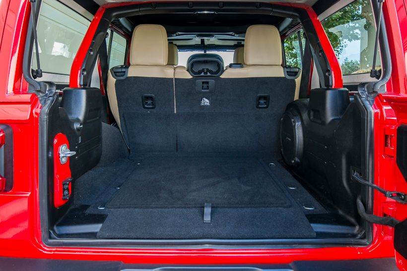 The Wrangler Unlimited offers 31.7 cubic feet ofcargo spacebehind the rear seats.