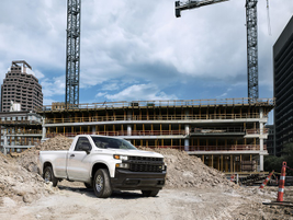 The Silverado Work Truck features a Chevrolet graphic across the grille and tailgate,...