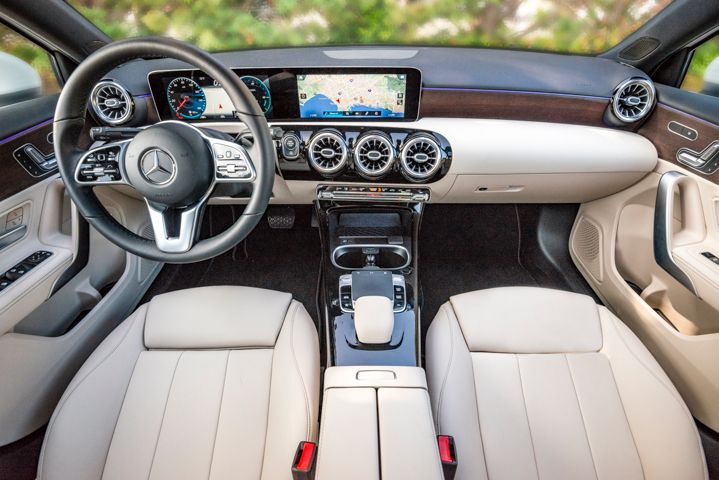 A dazzling pair of dash-mounted screens bolster the new MBUX infotainment system.