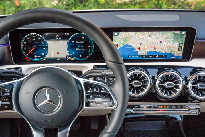 The A220 gets the brand's MBUX infotainment system that's supported by two 10.3-inch...