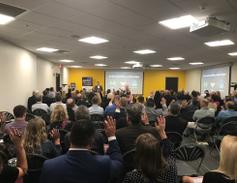 Merchants CEO Brendan Keegan spoke during the event.