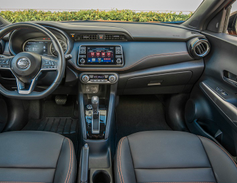 The Kicks offers standard equipment such as a7-inch display audio, three USB inputs,and...