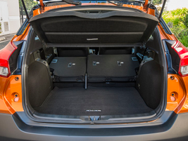 With rear seats up, the Kicks offers 25.3 cubic feet of cargo space. Total interior space is...