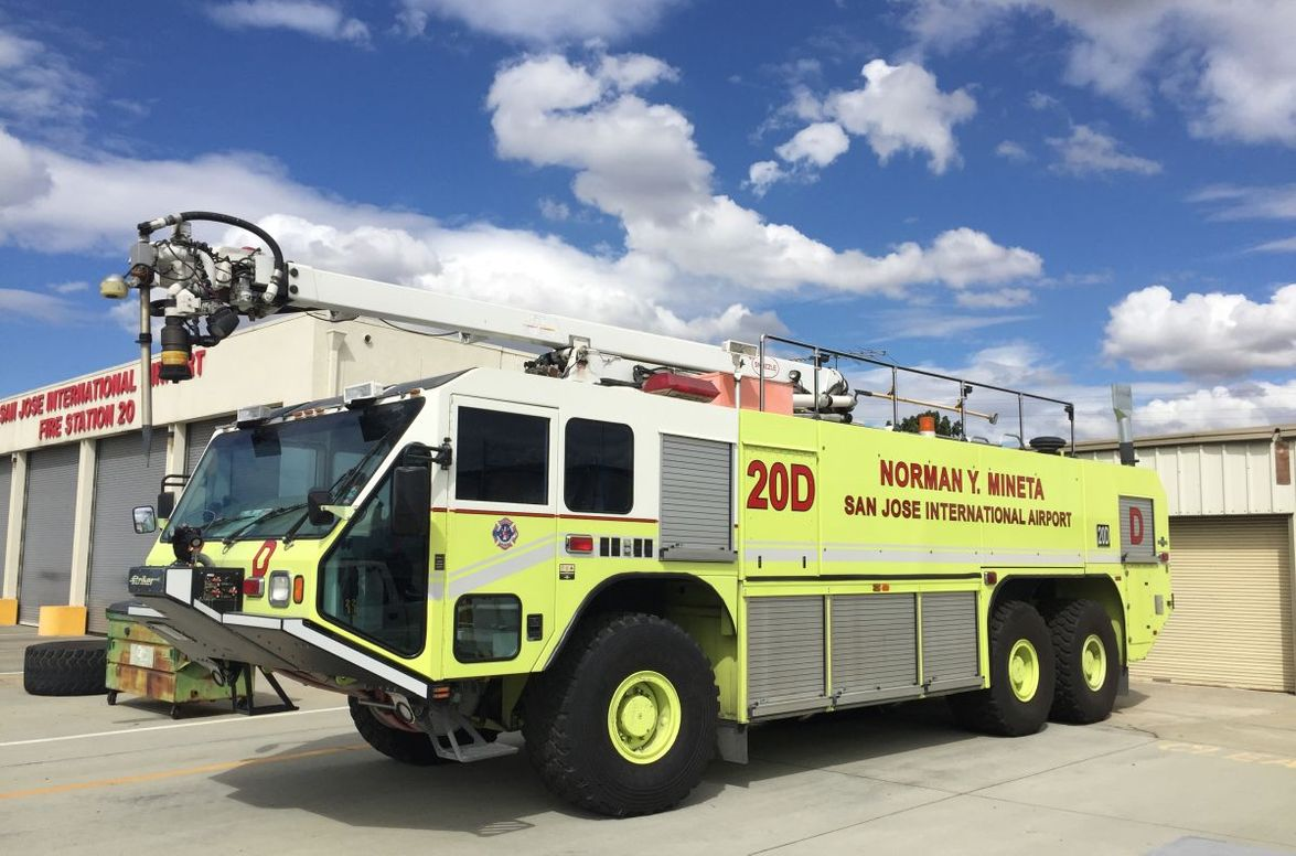 This Aircraft Rescue and Firefighting Vehicle serves the San Jose International Airport.
