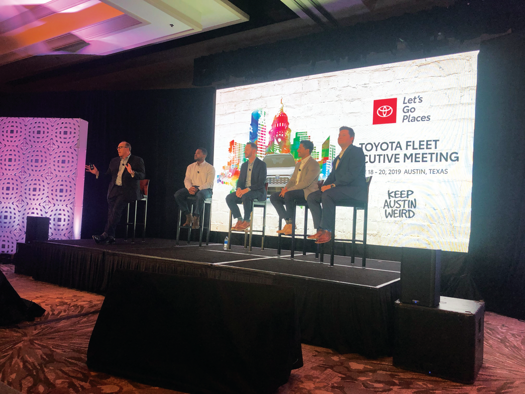 Don Fordiani (far left), group manager, fleet sales for Toyota Motor North America, moderated an...
