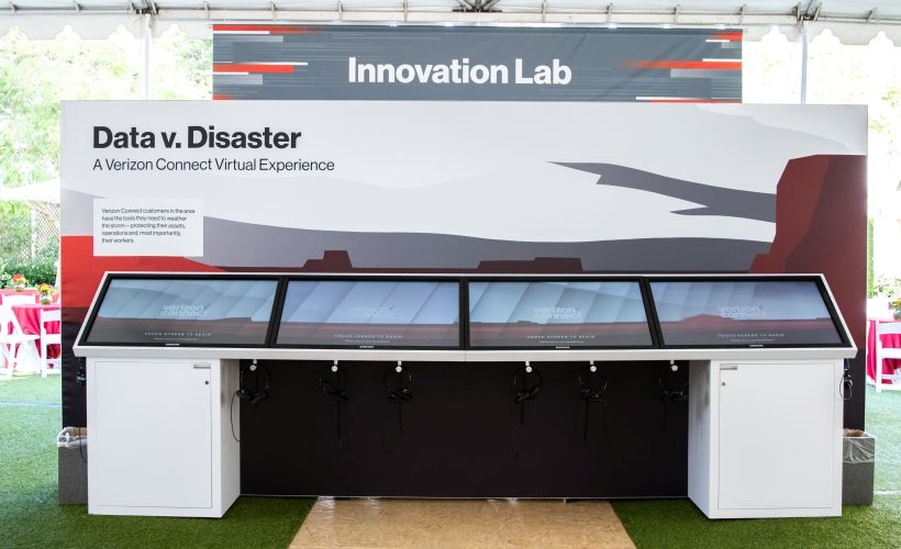 Here's a closer look at an Innovation Lab booth, Data v. Disaster, in the Transformation Tent.