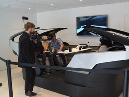 A virtual reality simulation of Volvo's 360c autonomous concept vehicle.