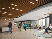 The interior of the lobby at the new WEX headquarters at 1 Hancock Street in Portland.