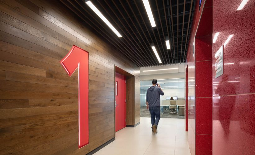 WEX Redis a prominent feature throughout the building, including the elevator bays.