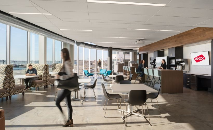 The building was designed to use natural light and features views of Casco Bay.