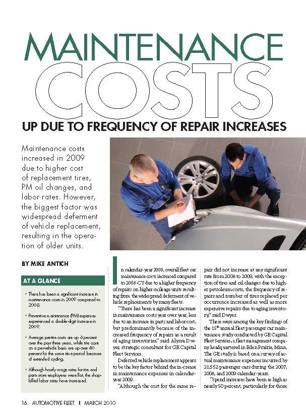 2009 Maintenance Statistics