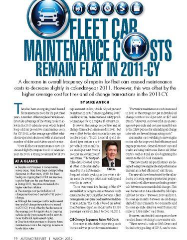 2011 Maintenance Statistics