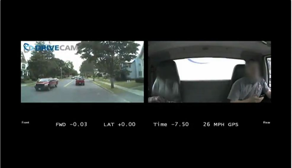Delivery Van Driver Texts and Nearly Collides With Vehicle Up Ahead