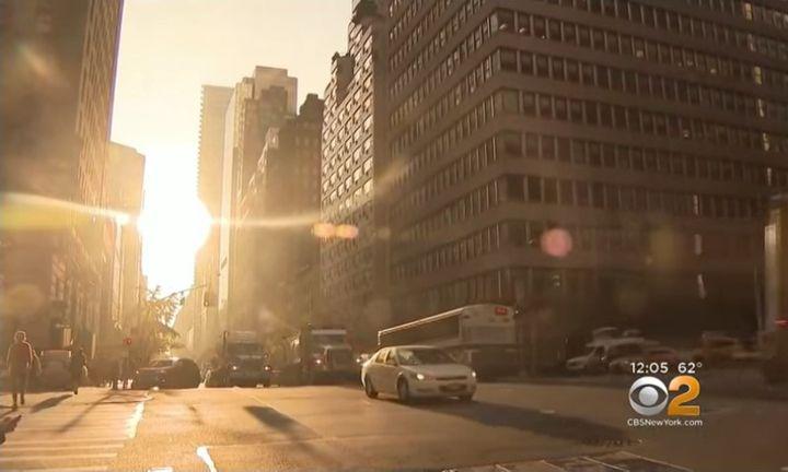 Sunset can create a blinding effect that makes driving much more hazardous. - Screenshot via CBS New York.