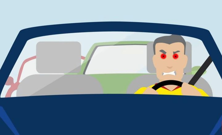 Follow these tips to better control your negative emotions while driving.  - Screenshot via GEICO.