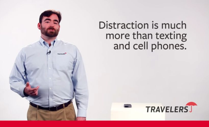 Coach your fleet drivers on these four tips to reduce the safety risk caused by distraction in its myriad forms.  - Screenshot via Travelers/YouTube.
