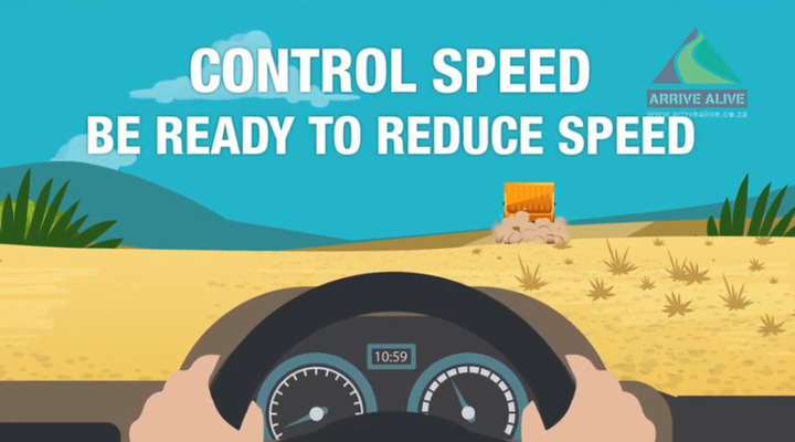 Handling gravel will help fleet drivers avoid a spinout.  - Illustration via Arrive Alive.