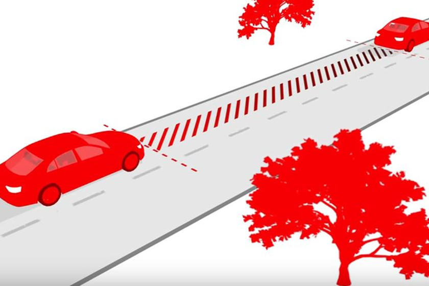 Following distance can vary depending on the vehicle you're driving.