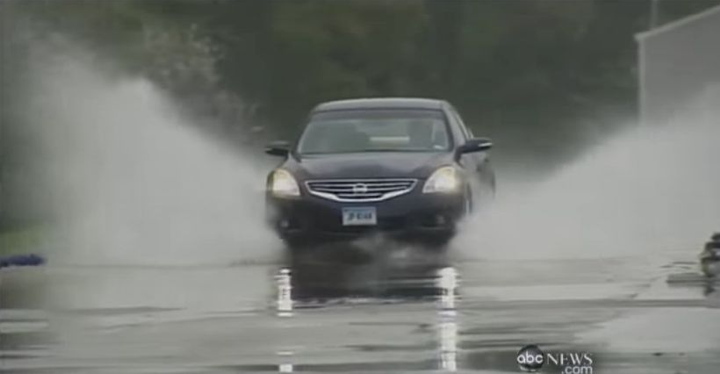 Hydroplaning happens when there's too much water on the road for tires to disperse, and the vehicle losts contact with the roadway.