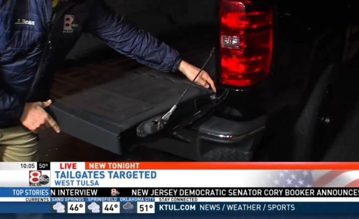 Oklahoma now ranks ninth among states in thefts of pickup tailgates.