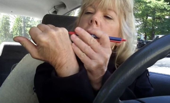Leg cramps, back pain, and muscle spasms can strike at any time, including when a driver is behind the wheel.  - Screenshot via Patricia Gilmore/YouTube.