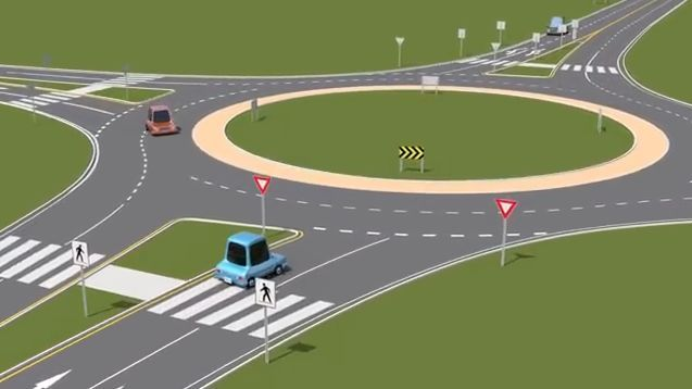Roundabouts reduce collisions because vehicle must slow down, but they can be tricky to navigate.  - Screenshot via Roundabout How/Youtube.