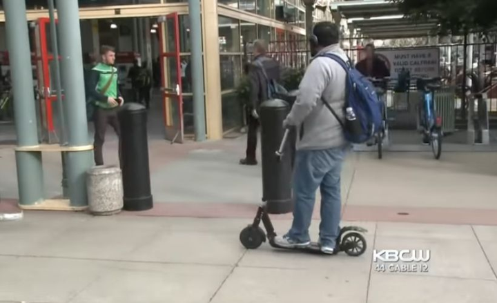 An army of electric scooters have appeared in cities such as San Francisco, Dallas, and Chicago. Here are several tips for drivers to deal with this hazard.  - Screenshot via KPIX CBS.