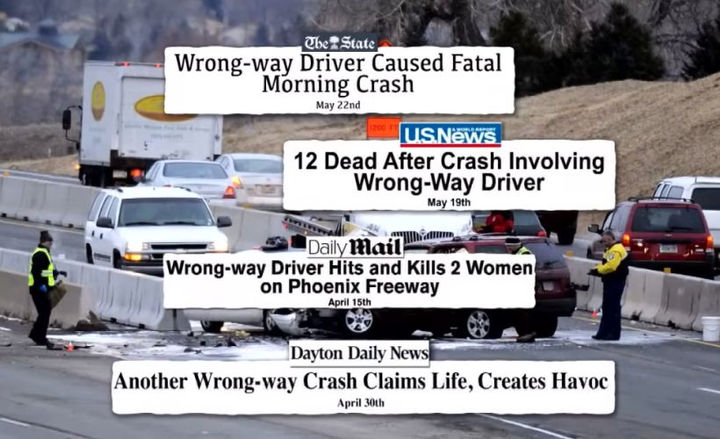 Wrong-way drivers present a possible fatal hazard to commercial drivers on the highways at night or on weekends.  - Screenshot via Inside Edition/YouTube.