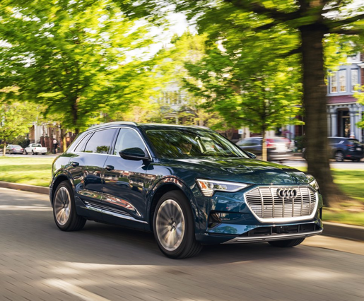 Photo Courtesy of Audi of America.2019 model shown. The e-tron can deliver an estimated range of 218 miles (2021models). -