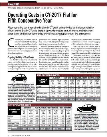 2017 Operating Costs Statistics