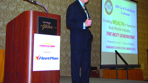 Neil Abrams delivers the keynote address at the 2004 Car Rental Show.