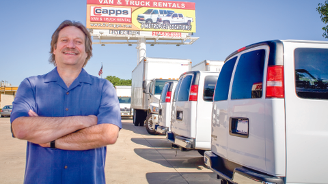 Dave Capps, owner of Capps Van and Truck Rental, says his company is less affected by the...