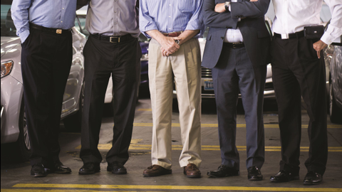 (left to right) Richard Wolff (CFO), co-owner Mike Jaberi, Joe Knight, vice president of...