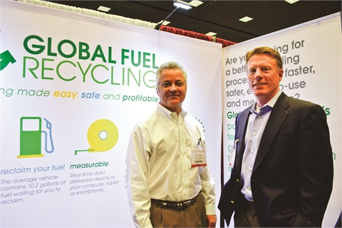 Photo by Joanne M. Tucker Global Fuel Recycling CEO Jerry McGuffin (right) and Vice President Dick Janicki at the 2012 Car Rental Show in Las Vegas.