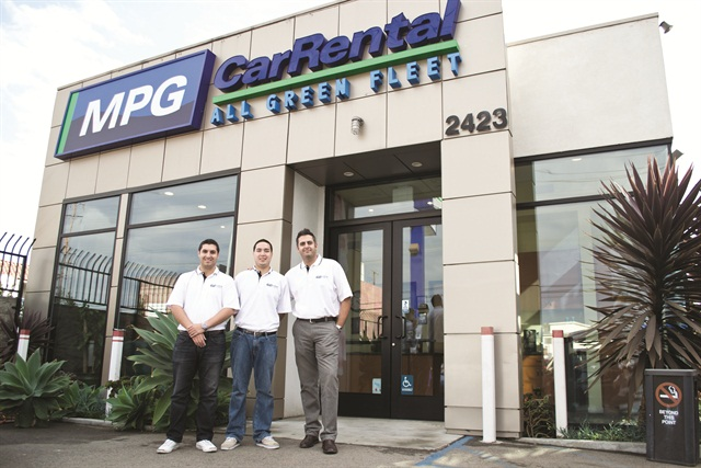 Photo by Vincent Taroc. MPG Car Rental in Venice, Calif. was launched in 2011 as an all-green rental company, though manager Paul Hernandez says the company is building its reputation based on its service and positive online reviews. Hernandez (left) is joined by Patrick Levenson, assistant manager and Steve Vahidi, owner (right).