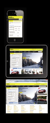 These are the three main views of Hertz's responsive website. (At top) The smartphone displays the least amount of info, followed by the tablet (middle) and the desktop (at bottom).