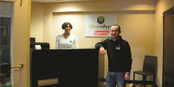Matthew Holowinski (with employee Jil Williams), owner and founder of independent Greenberg Rent...