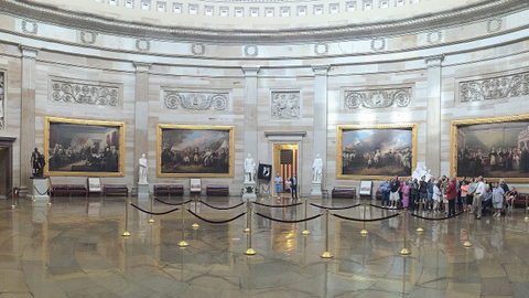 The famed Capitol rotunda was one stop on the meeting schedule. The rotunda had just reopened...