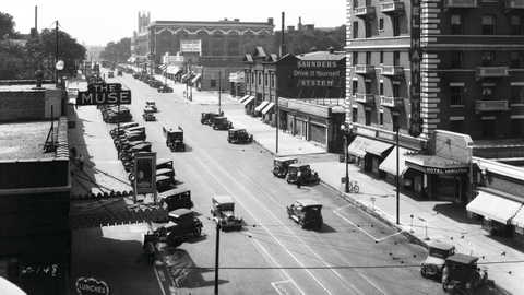 """Taken in 1928, this photo shows the Saunders """"Drive it Yourself"""" location on Farnam St. in..."""