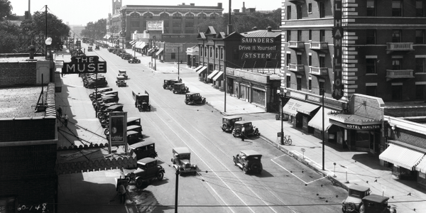 "Taken in 1928, this photo shows the Saunders ""Drive it Yourself"" location on Farnam St. in..."