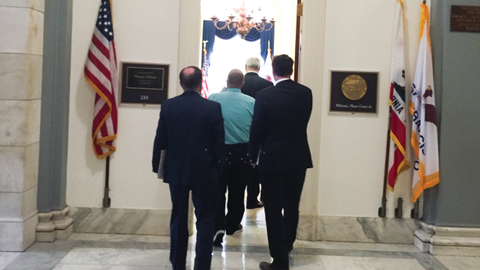 "The ""West"" delegation enters the offices of Rep. Nancy Pelosi, the minority leader of the House..."