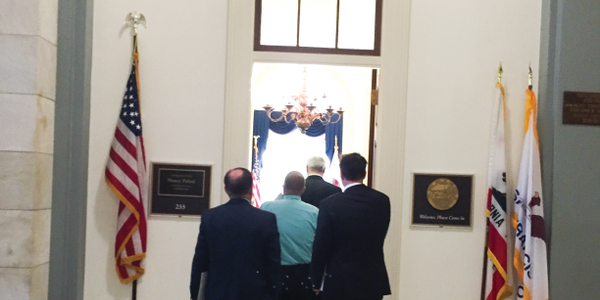"""The """"West"""" delegation enters the offices of Rep. Nancy Pelosi, the minority leader of the House..."""