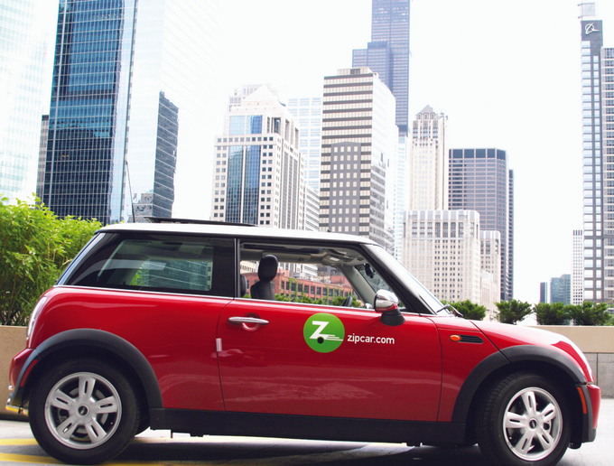 "The largest carshare company, Zipcar, operates a traditional ""station-based"" network, though the company is beta testing a one-way program in Boston.  - Photo courtesy of Zipcar."